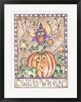 Framed Happy Owl O Ween Print