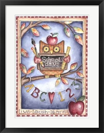 Framed Owl Live Laugh Learn Print