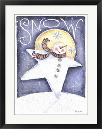 Framed Snow Man Primative Print