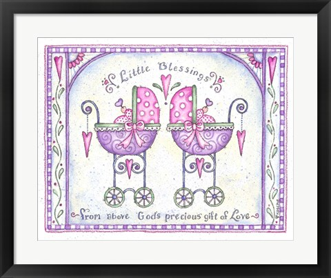 Framed Twin Baby Carriages Print