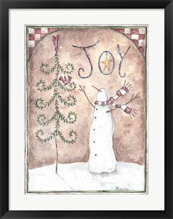 Framed Joy Primitive Snowman Print