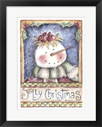Framed Jolly Christmas Snowman Print