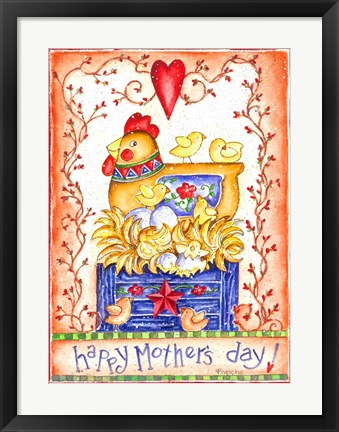 Framed Happy Mothers Day Hen with Chicks Print