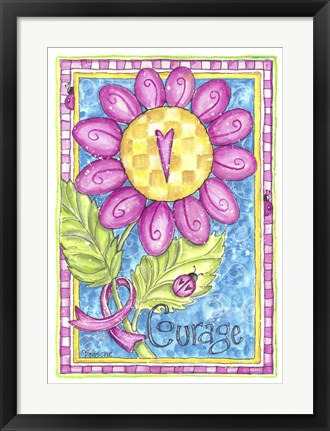 Framed Breast Cancer Awareness: Courage Flower Print