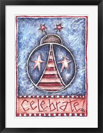 Framed Celebrate Patriotic Ladybug Print