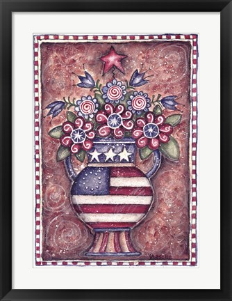 Framed Patriotic Flower Arrangement Print