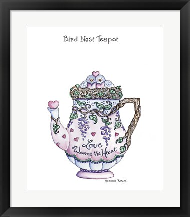 Framed Bird Nest Teapot Print
