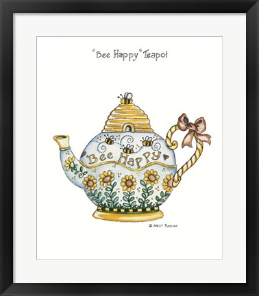 Framed Bee Happy Teapot Print