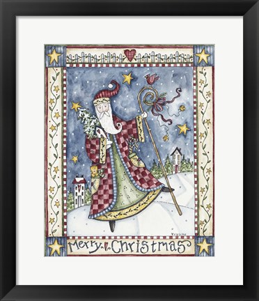 Framed Folk Santa - Merry Christmas Print