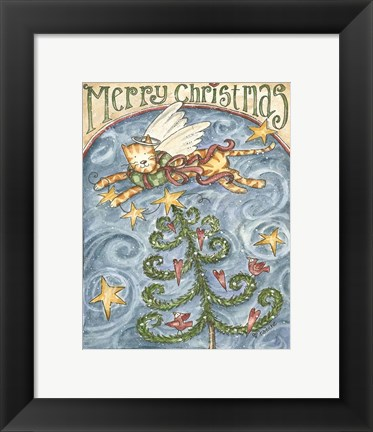 Framed Merry Christmas (Cat & Cardinal) Print