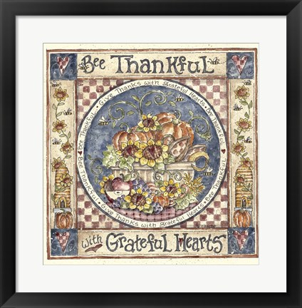 Framed Bee Thankful Print