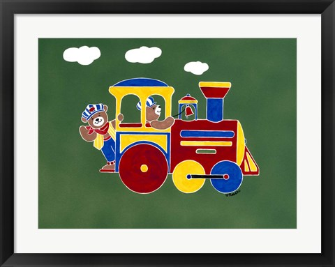 Framed Bear Ry Happy Conductors Print