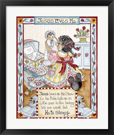 Framed Jesus Loves Me -  Girl Print