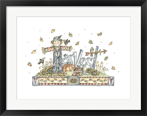 Framed Harvest Word Art Print