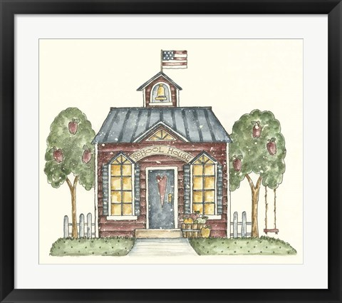 Framed Schoolhouse With Flag Print