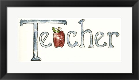 Framed Teacher With Apple Print