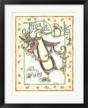 Framed Jingle Bells Penguin Print