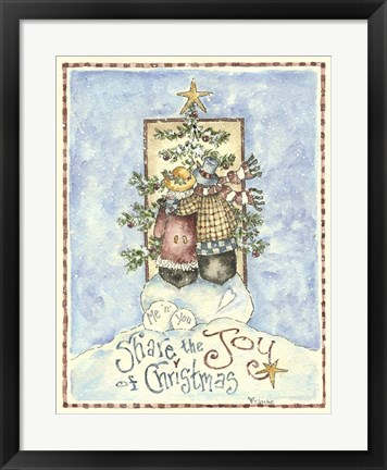 Framed Share The Joy Of Christmas Penguins Print