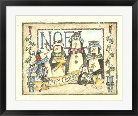 Framed Noel - 4 Penguins Print