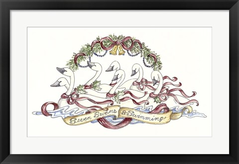 Framed Seven Swans A Swimming Print