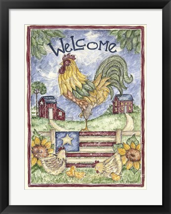 Framed Welcome Rooster Print