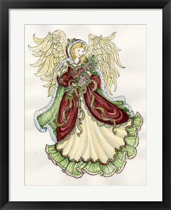 Framed Angel With Roses Print