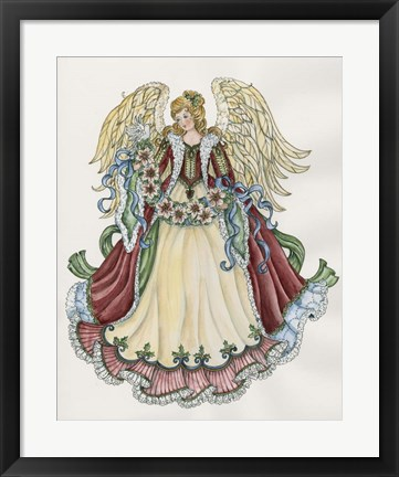 Framed Angel With Ribbon Of Pointsettias Print