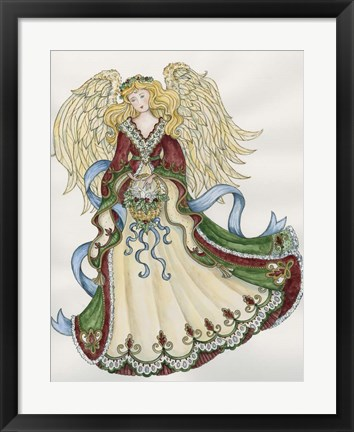 Framed Angel With Basket And Dove Print