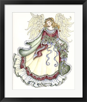 Framed Angel With Candle Print