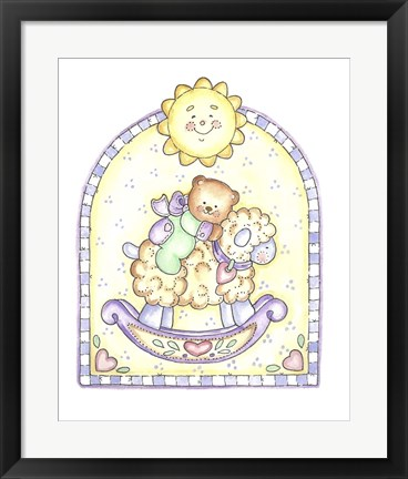 Framed Teddy Bear On Lamb Rocker Print