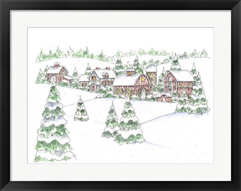 Framed Winter Farm Print