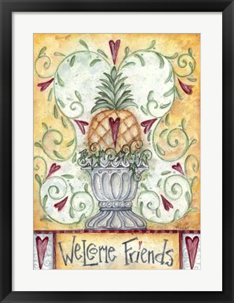 Framed Welcome Friends Pineapple Print