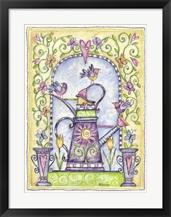 Framed Watering Cans Arch Print