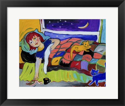 Framed Two Cats at Night Print