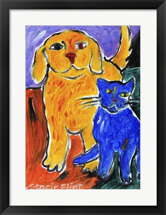 Framed Blue and Yellow Friends Print