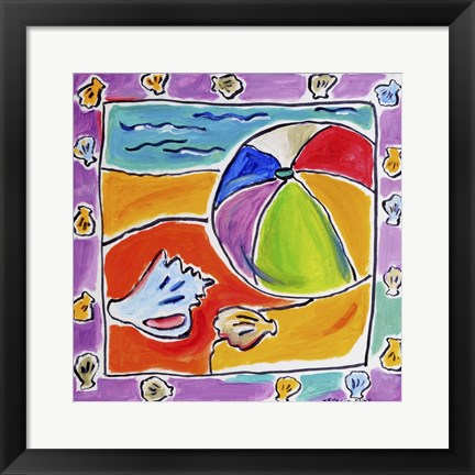 Framed Beach Ball and Shells Print