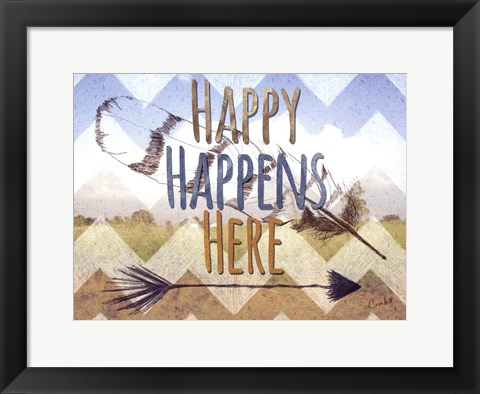 Framed Happy Happens Here Print