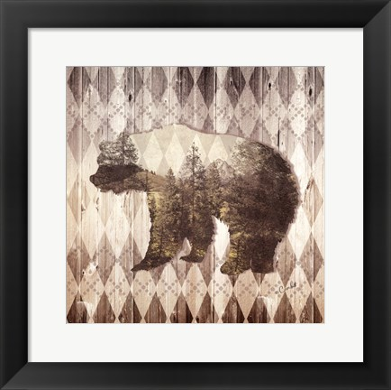Framed Wild Nature Bear Print