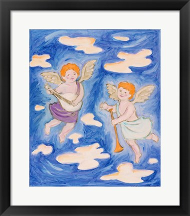 Framed Musical Cherubs Print