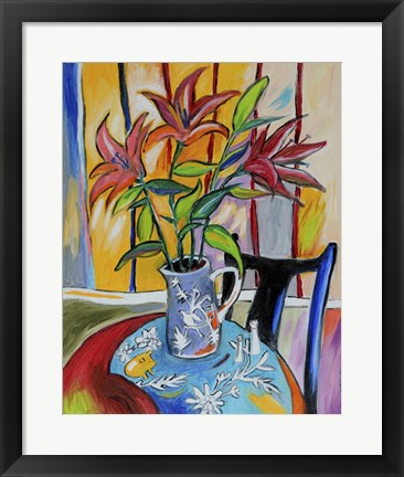 Framed Lilies On The Table Print