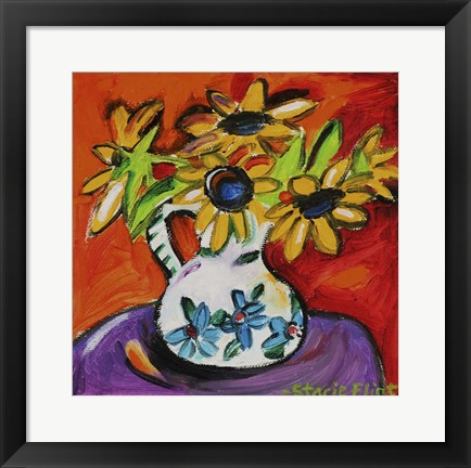 Framed Purple Table With Sunflowers Print