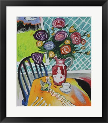 Framed Table With Roses Print