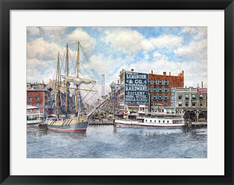 Framed Detroit Water Front 1896 Print