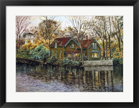 Framed Northville Victorian By Lake Print