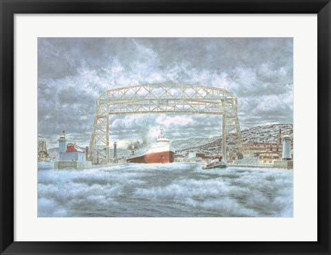 Framed Edmund Fitz Leaving Dock Print