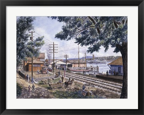 Framed Steam Along Hudson Print