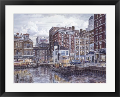 Framed Tugboats And Tenements Print