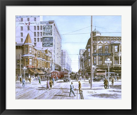 Framed Los Angeles,  5Th And Hill Print