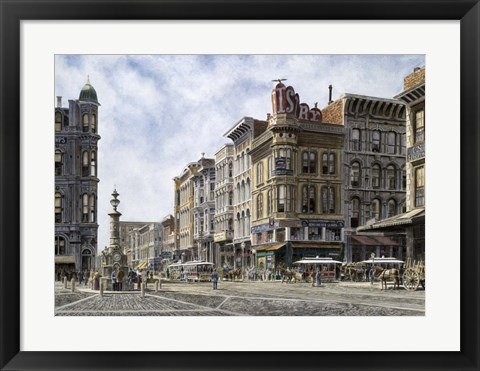 Framed San Francisco,  Latta's Fountain, Market & Geary Sts. Print