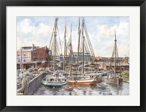 Framed Crowded Dock Print